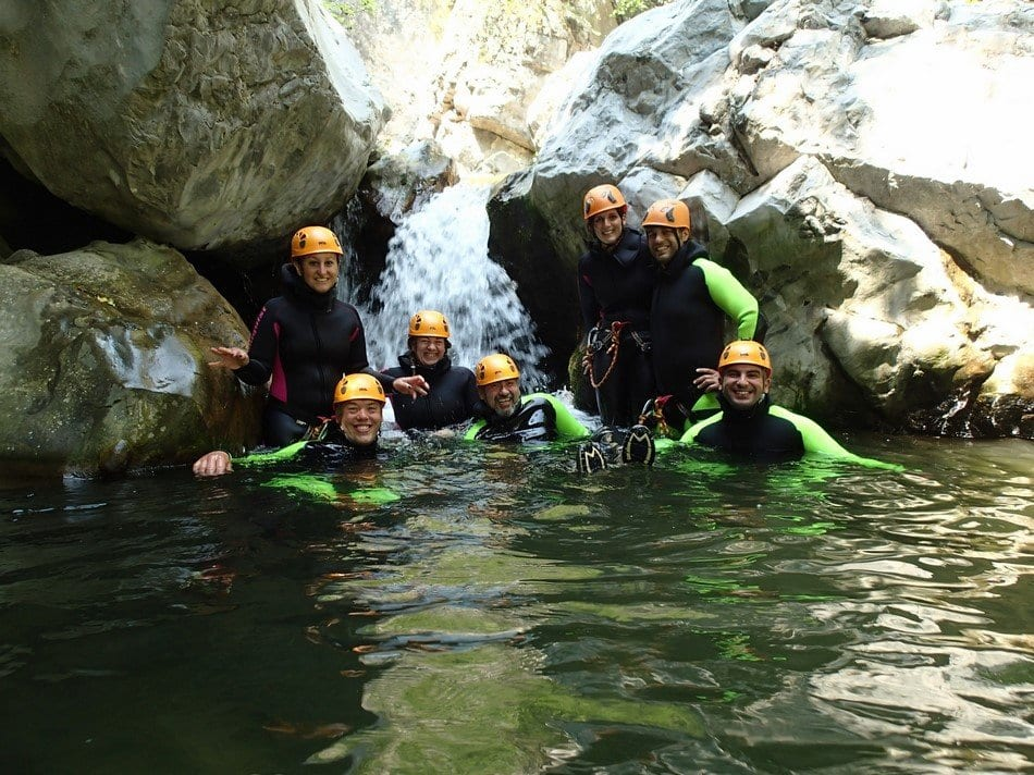 Canyoning, gruppo all'arrivo