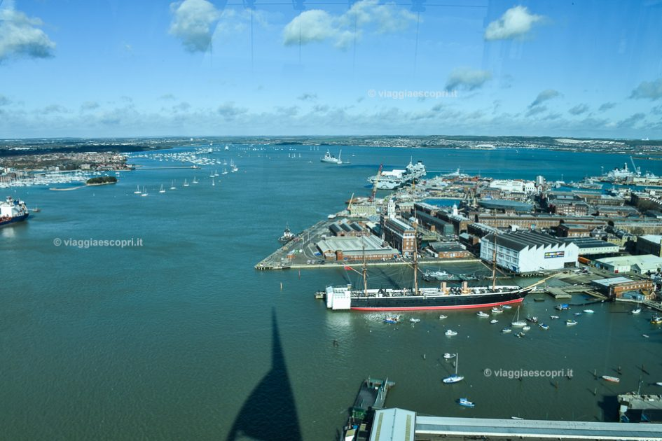Panorama dalla Spinnaker Tower di Portsmouth, viaggio in Inghilterra